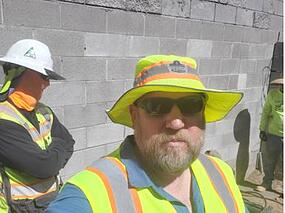 AZFS Director Tom Dixon in a Cooling Hat at a Foundation Repair job site.